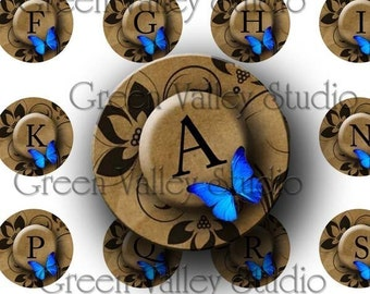 INSTANT DOWNLOAD Digital Images Collage Sheet Butterflies Initials Letters Blue Butterfly Alphabet One Inch Circles for Pendants (C74)