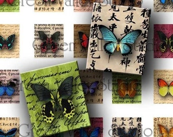 INSTANT DOWNLOAD Digital Collage Sheet Butterflies Handwriting Insects Nature .75 x .873 Inch Tiles for Scrabble Pendants Crafts (S59)