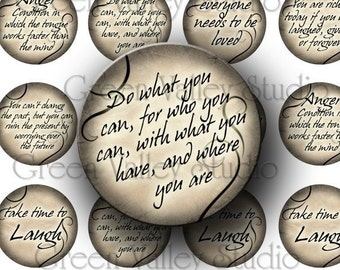 INSTANT DOWNLOAD Digital Collage Sheet Inspirational Phrases Sayings Love Laugh Old Paper Style One Inch Circles for Pendants Crafts (C67)