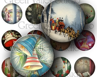 INSTANT DOWNLOAD Digital Collage Sheet Vintage Christmas Postcards Holidays One Inch Circles for Pendants Magnets Scrapbooking (C82)
