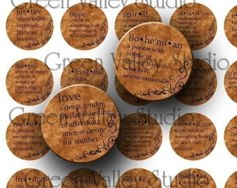 INSTANT DOWNLOAD Digital Images Sheet Dictionary Words Meanings Vintage Style One Inch Circles for Pendants Magnets Scrapbooking (C17)