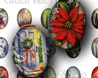 INSTANT DOWNLOAD Digital Collage Sheet Vintage Christmas Poinsettias Flowers Holiday Postcards 18 x 25 mm Ovals for Pendants Crafts (O22)