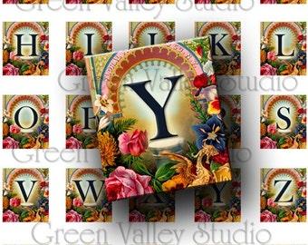 INSTANT DOWNLOAD Floral Alphabet Digital Images Sheet Vintage Flowers Initials .75 x .873 Inch for Scrabble Pendants Scrapbooking (S75)