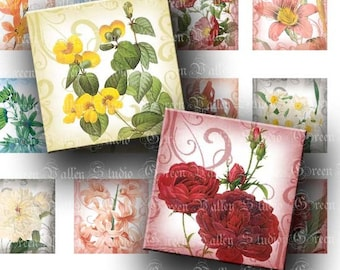 INSTANT DOWNLOAD Romantic Flowers Digital Images Sheet Flowers Blooms 2 Sizes One Inch and 7/8 Inch Squares for Pendants Crafts (GS88,GSS88)