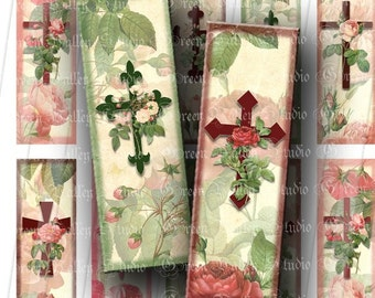 INSTANT DOWNLOAD Floral Crosses Digital Collage Sheet Flower Christ Christian Microscope Slides 1 x 3 Inch for Pendants Magnets Crafts (M49)
