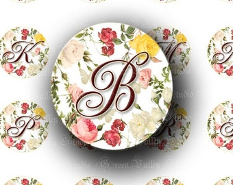 INSTANT DOWNLOAD Floral Alphabet Roses Digital Art Images Collage Sheet Flowers Romantic One Inch Circles for Pendants Magnets Crafts (C103)