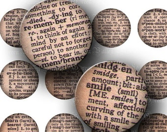 INSTANT DOWNLOAD Vintage Dictionary Words Digital Collage Sheet Definitions Meanings Love Hope Smile One Inch Circles for Pendants (C107)