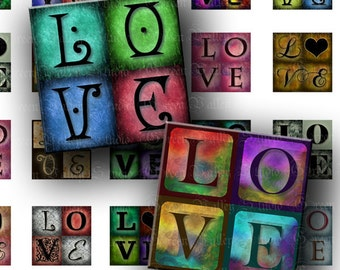 INSTANT DOWNLOAD Digital Images Sheet Love Words 2 Sizes One Inch and 7/8 Inch Squares for Pendants Crafts (GS105,GSS105)