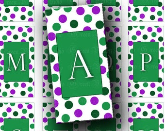 INSTANT DOWNLOAD Green Dots Alphabet Digital Collage Sheet Letters Initials Rectangles 1 x 2 Inch Tiles for Pendants - Magnets (T92)