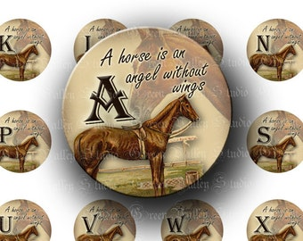 INSTANT DOWNLOAD Digital Images Collage Sheet Horse Alphabet Letters Initials Angels One Inch Circles for Pendants Magnets (C112)