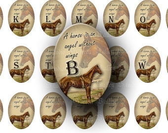 "INSTANT DOWNLOAD Horse Alphabet Digital Images Sheet ""A horse is an angel without wings"" Medium Ovals 18 x 25 mm for Pendants Crafts (O41)"