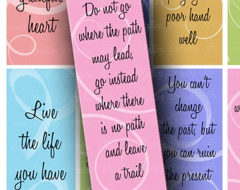 INSTANT DOWNLOAD Digital Images Sheet Bookmarks Colorful Inspirational Sayings Phrases 1.8 x 5 Inch for Bookmarks Crafts Scrapbooking (BK1)