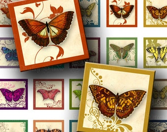 INSTANT DOWNLOAD Two Digital Images Sheets Colorful Vintage Butterflies Swirls 1 Inch and 7/8 Inch Squares for Pendants (GS117,GSS117)