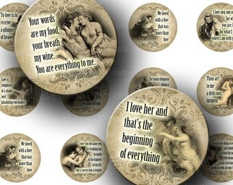 INSTANT DOWNLOAD Vintage Love Designs Quotes Phrases Beautiful Paintings Digital Collage Sheet One 1 Inch Circles for Pendants Crafts (C123)