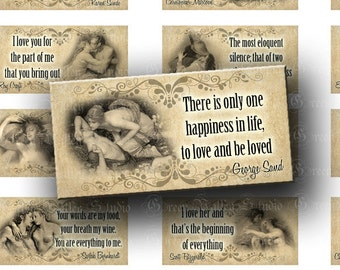 INSTANT DOWNLOAD Vintage Love Designs Quotes Beautiful Paintings Digital Collage Sheet Horizontal Format 1 x 2 Inch for Pendants (T118)