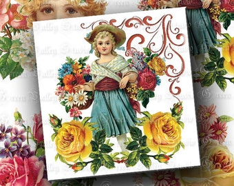 INSTANT DOWNLOAD Digital Images Sheet Vintage Style Floral Victorian Flowers Roses Romantic 3.8 x 3.8 Inch Squares for Coasters Crafts (CT3)