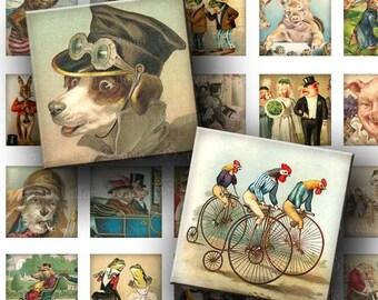 INSTANT DOWNLOAD Digital Images Sheet Vintage Storybook Animals Funny One 1 Inch 7/8 Inch Squares for Tile Pendants Crafts (GS136,GSS136)