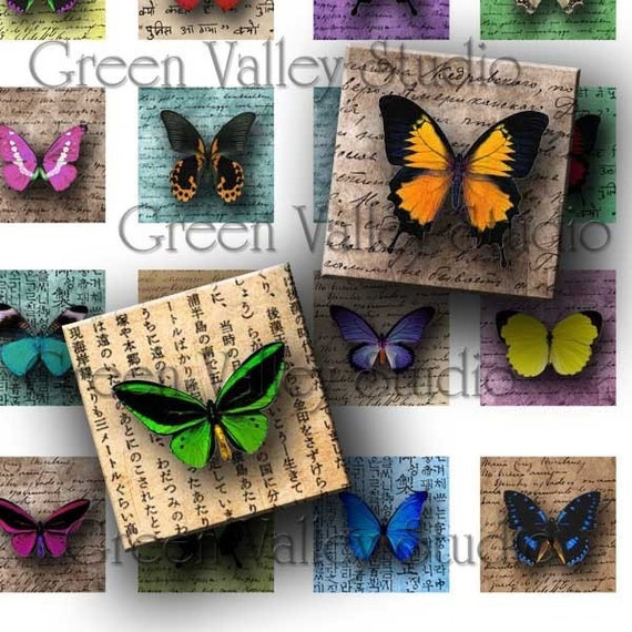 INSTANT DOWNLOAD Digital Images Sheet Butterflies Handwriting Insects Nature One Inch and 7/8 Inch Squares for Tile Pendants (GS61,GSS56)