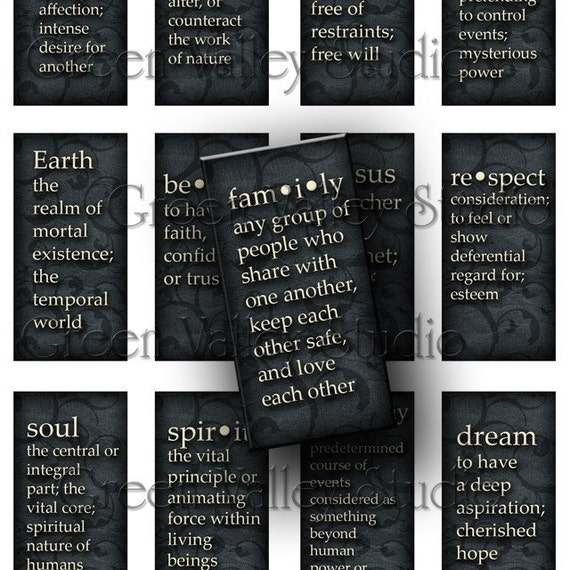 INSTANT DOWNLOAD Digital Images Sheet Dictionary Words Dark Old Paper Swirls Love Hope Angel 1 x 2 Tiles for Bamboo Domino Pendants (T14)