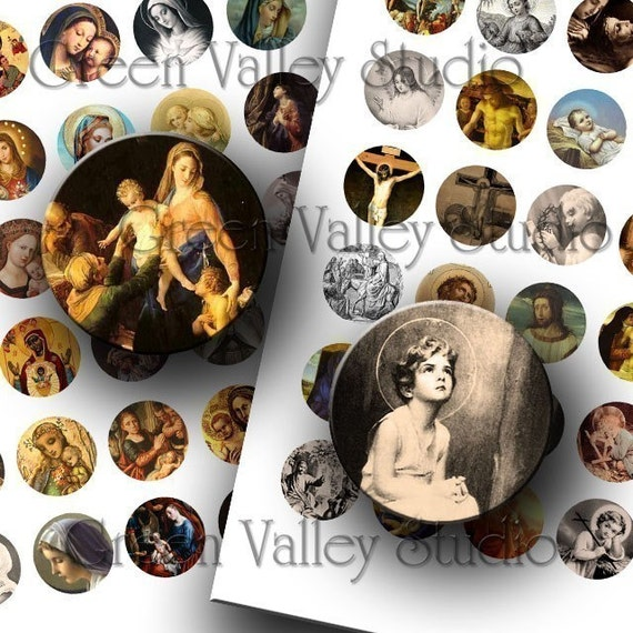 INSTANT DOWNLOAD Digital Images Two Digital Sheets Vintage Religious Art Christian Jesus One Inch Circles for Pendants Magnets (C22,C23)