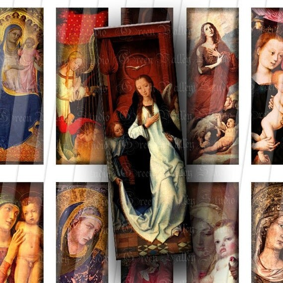INSTANT DOWNLOAD Religious Vintage Christian Digital Images Sheet Antique Paintings Virgin Mary Jesus Bible 1 x 3 Inch for Pendants (M51)
