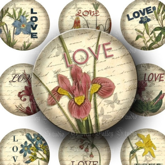 INSTANT DOWNLOAD Digital Collage Sheet Love  1 1/2 Inch Vintage Flowers Words Nature 1.5 Inch Circles for Pendants Magnets Crafts (CPS11)