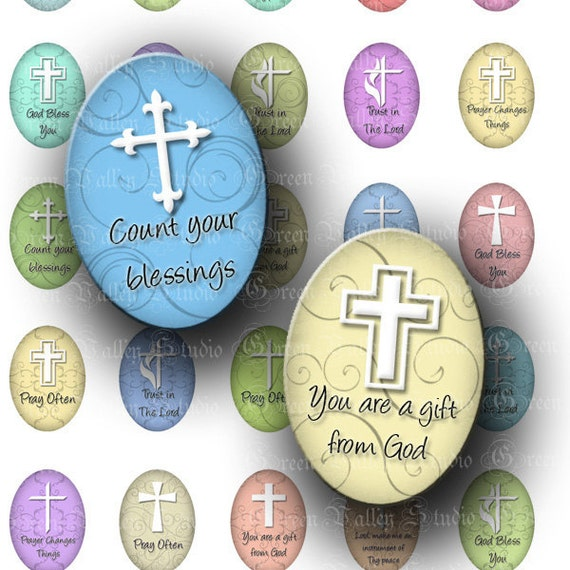 INSTANT DOWNLOAD Digital Images Sheet Religious Christian Quotes Jesus God Inspirational Crosses Medium Ovals 18 x 25 mm for Pendants (O38)