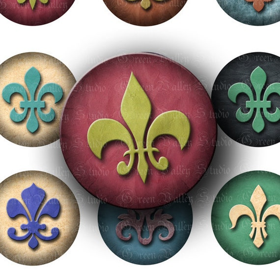 INSTANT DOWNLOAD Digital Collage Sheet Fleur de Lis Designs 1 1/2 Inch Poker Chip French Flower 1.5 Inch Circles for Pendants (CPS14)