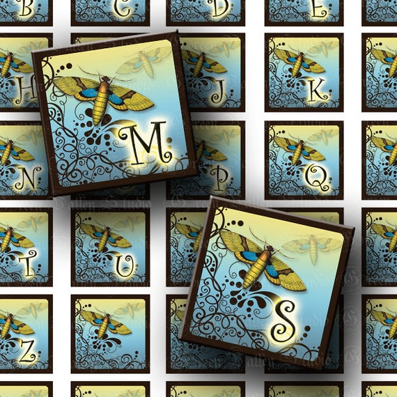 INSTANT DOWNLOAD Digital Images Sheet Vintage Moth Curly Alphabet Brown Blue One 1 Inch and 7/8 Inch Squares for Pendants (GS118,GSS118)