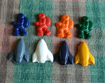 Spacemen and Rockets Crayons Recycled/Upcycled