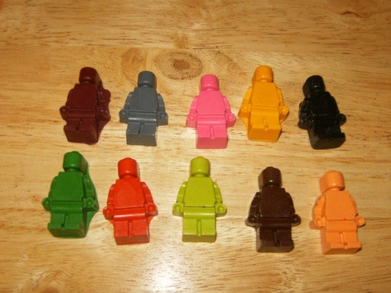 Lego Man Crayons Recycled/Upcycled