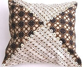 Batik Pillow Cover, Hand Dyed in Indonesia, Brown and White with Ostrich Egg Shells, 16''- Earth, 3