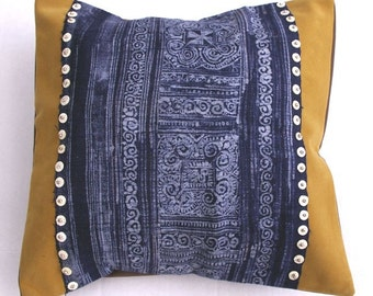 Indigo Tribal Art Pillow: Hand Dyed and Woven Hemp 16'',  Item 4
