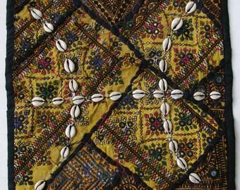 Vintage Embroidered Pillow: Pakistan, Textile Remnants, Sm. 14'', Item 6