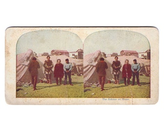 "Vintage Stereograph Card: ""The Eskimo at Home"", Native1"