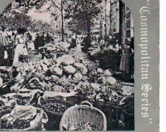 Vintage Stereoview Card: The Vegetable Market, Cologne, Germany. Cosmo593