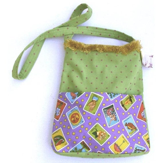 Green Mexican Bag:  ''Alien'', Loteria Cards, 2 Pockets, Long Strap