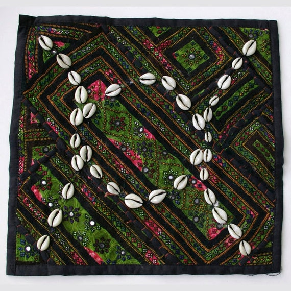 Vintage Embroidered Pillow: Pakistan, Textile Remnants, Sm. 14'', Item 5