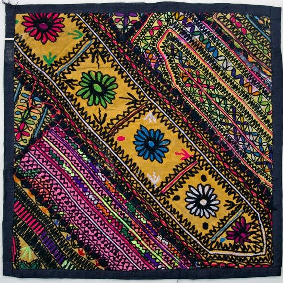 Vintage Embroidered Pillow: Pakistan, Textile Remnants, Sm. 14'', Item 29