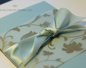 Dusty Blue and Gold Flourish Invitation Set
