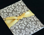 Grey and Yellow Damask Wedding Invitations