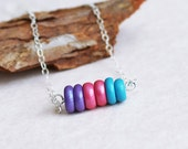 Little pebbles. Stacked polymer clay beads. Sterling Silver chain. Simple, delicate, whimsical. Zen inspired.