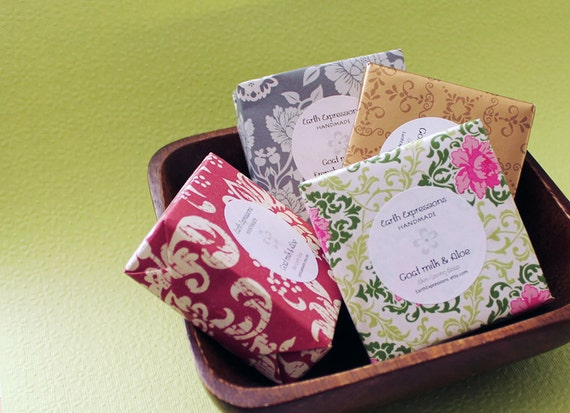 Four pack of soaps. 4 nicely wrapped  soap bars. Soap sale. 4 soaps at discounted price. Value pack.