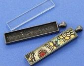 2pcs 12x53mm antique silver Pewter blank bezel rectangle Pendant Tray