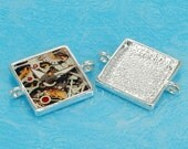 10pcs 25mm silvery white Pewter square Tray bezel blank Pendant