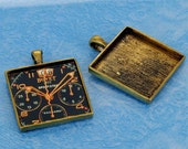 6 pcs 33X33mm Great foursquare antique bronze Pewter bezel blank Pendant Tray