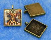20pcs 25mm antique bronze  Pewter square Tray bezel blank Pendant
