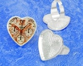 100pcs silver tone Heart tray Adjustable pewter Ring Blank