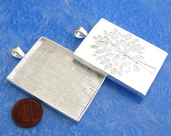 2pcs 38.5X51mm Great rectangle Silver tone Pewter bezel blank Pendant Tray with tree pattern