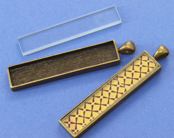 20pcs 12x53mm antique bronze Pewter blank bezel rectangle Pendant Tray
